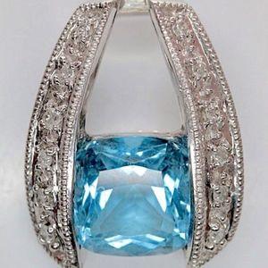 SALE!!  14K White Gold Blue Topaz Diamond Pendant